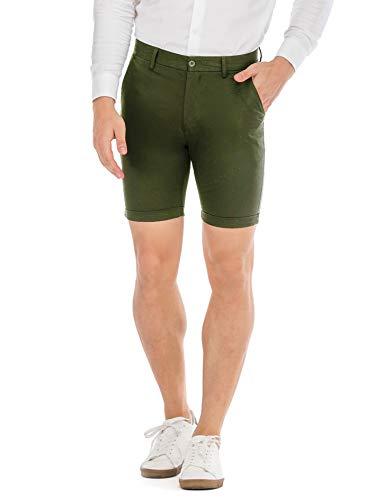 (HONTOUTE Men's Twill Chino Short Classic Slant Pocket Comfort Short Army Green 38)