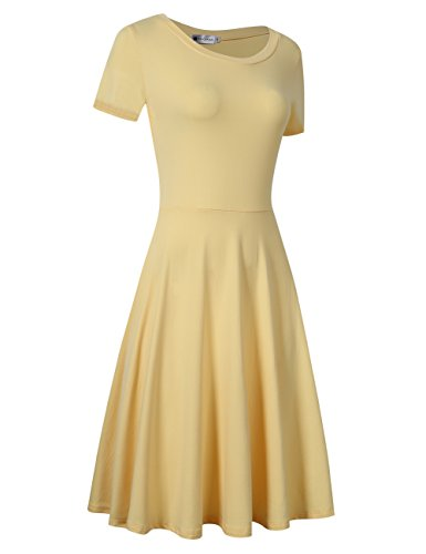 and Yellow Flare Women Party Cocktail Dress Dress VeryAnn Sleeveless Fit Swing A Line Lace UxaSzf