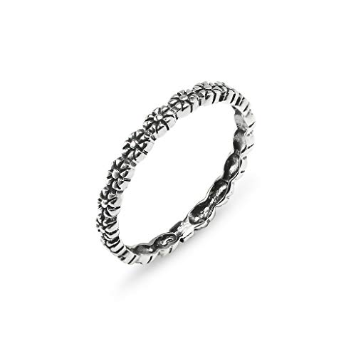 lower Sterling Silver Daisy Band Ring For Women Friendship Promise Size 5 ()
