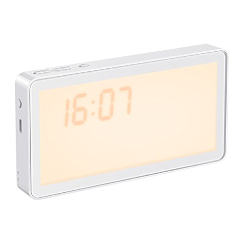 Natural Clock Alarm Light (Sunrise Alarm Clock, ORIA Wake Up Light, 3-Level Night Light, 8 Natural Alarm Sounds with Sunrise Simulation for Bedroom, Playroom, Baby-room, USB Charging(Plug Not Included, Great Gift for Easter Day)