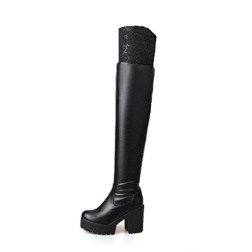AgooLar Women's PU Solid Pull-on Round Closed Toe High-Heels Boots Black 4vX4voSY6