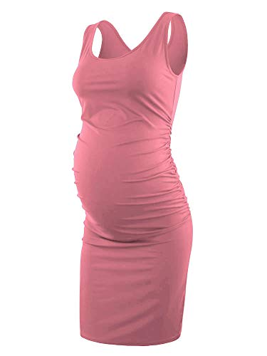 Liu & Qu Women's Maternity Sleeveless Tank Dresses Side Ruching Bodycon Dress for Daily Wearing Or Baby Shower Purple Rose