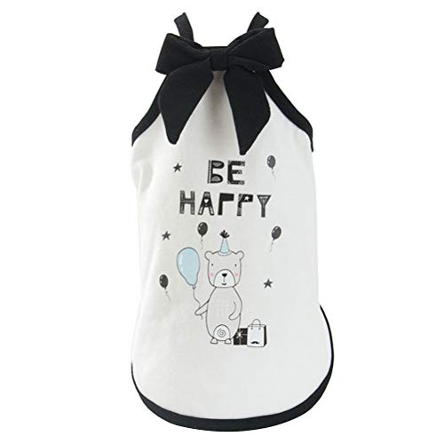 POPETPOP Dog Puppy Dress Pet Spring and Summer Clothes Pet Vest Music Bear Pattern Sleeveless Clothes for Puppy