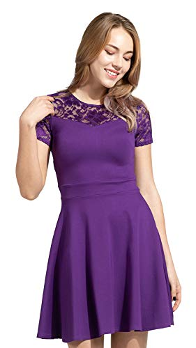 Sylvestidoso Women's A-Line Pleated Short Sleeve Little Purple Cocktail Party Dress with Floral Lace (M, Purple)