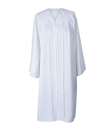 GradPlaza Unisex Adult Graduation Gown Economic Choir Robe Matte Gown Only White]()