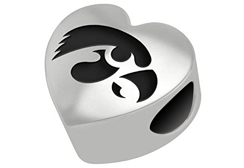 Iowa Hawkeyes Sterling Silver Heart Bead Fits Most European Style Bracelets -