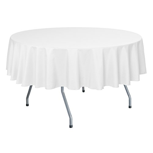 Ultimate Textile 60-Inch Round Polyester Linen Tablecloth White