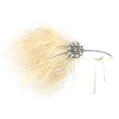1920 Feather Headband - 1920 Accessories Black Vintage Headband Flapper Costume 1920 Headpiece for Women Gatsby Accessories (White-B)