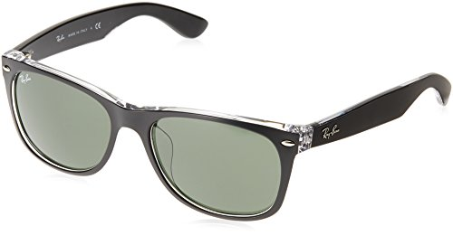 Ray-Ban RB2132F New Wayfarer Asian Fit Sunglasses, Black On Transparent/Green, 58 ()