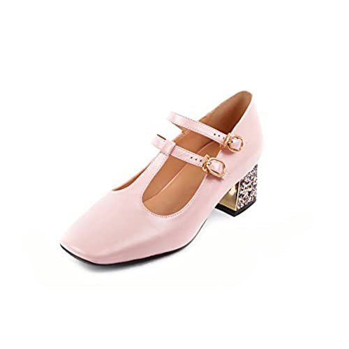 3a6a98cdb3a9bf MINIVOG Women s Square Toe T-strap Mary-jane Pump Shoes lovely ...