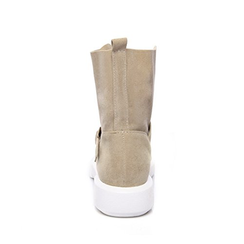 BalaMasa Womens Casual Slip-Resistant Buckle Suede Boots ABL10360 Apricot QFmcdA