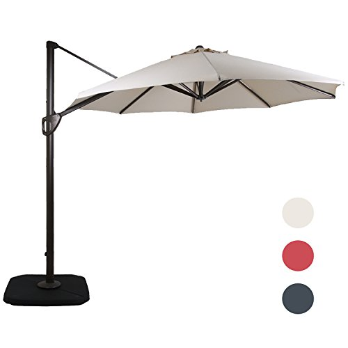 Domi Outdoor Living 11-Feet Aluminum Cantilever Umbrella Outdooor Patio Tilt & Crank Round Umbrella with Cross Base,Beige by DOMI OUTDOOR LIVING