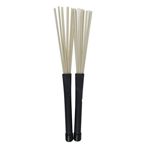Pair of Jazz Drum Brushes Black Rubber Handle with White Nylon Drum Brush
