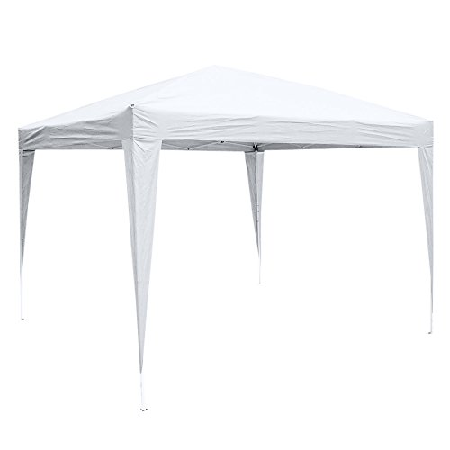 (Z ZTDM Patio EZ Pop Up Canopy, 10' X 10' Folding Portable Tent Instant Gazebo Waterproof Awning with Carry Bag for Commercial Party BBQ, Shade Shelter Heavy Duty (White))