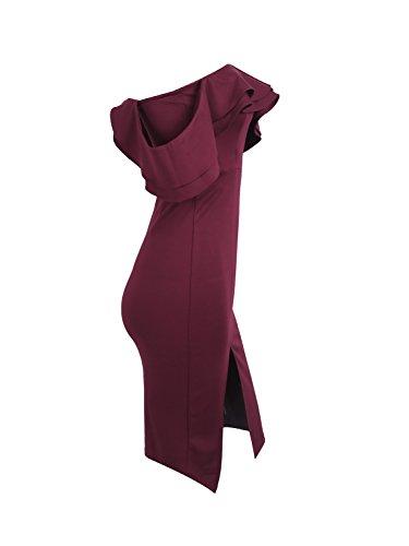 Donna Abbigliamento Midi Bordeaux Spalla Volant Simplee Fuori Dal Vestito FIxwaIY0q