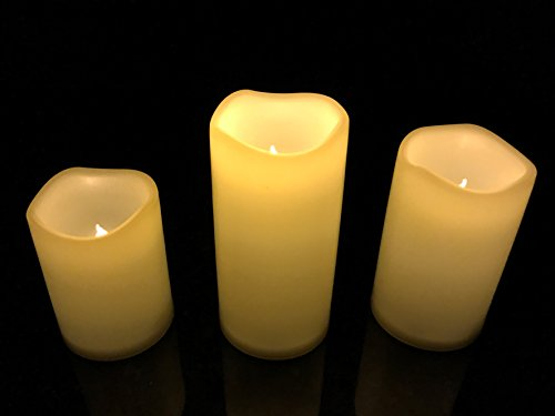 lmnop Radiant-Candle Set of 3 Indoor & Outdoor Water Resistant Flameless Candles