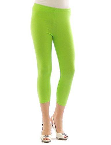 Yeset Femme Legging longueur 3/4 Capri court Leggings cotton VERT CLAIR XXL