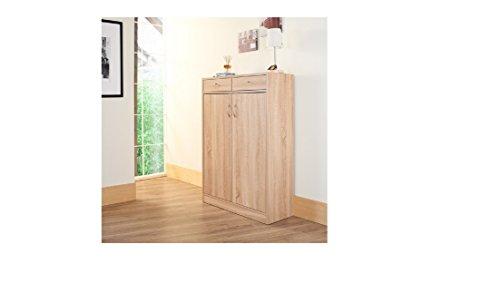 5-shelf Shoe Cabinet with Two Upper Storage Bins (Weathered Sand)