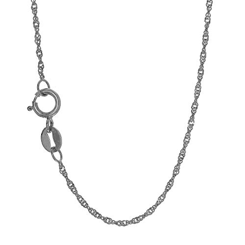 "JewelStop 10k Solid White Gold 1.5 mm Singapore Chain Necklace, Spring Ring Clasp-18"", 1.4gr."