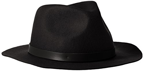 Phenix Cashmere Women's Short Brim Wool Felt Fedora Hat, Black, One Size (Felt Fedora Hats)