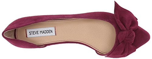 Steve Madden Womens Edina Peep Toe Pump In Pelle Scamosciata Bordeaux