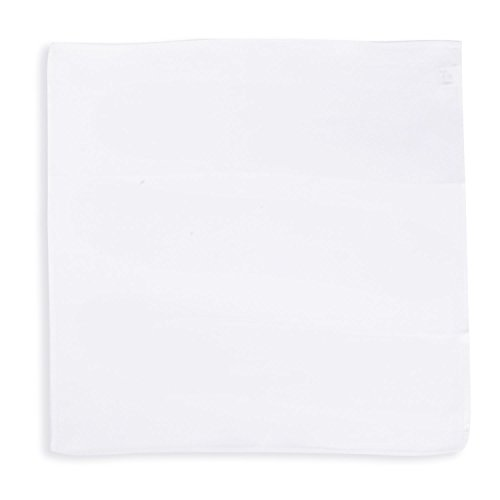 SelectedStyle 100% Pure Silk Pocket Square Solid White