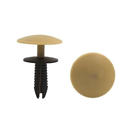 eDealMax 30Pcs Beige Negro remaches de plástico contacto del empuje del Sujetador sujetadores de retención 7