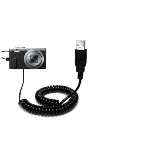 Coiled Power Hot Sync USB Cable suitable for the Panasonic Lumix DMC-ZS40 with both data and charge features - Uses Gomadic TipExchange Technology