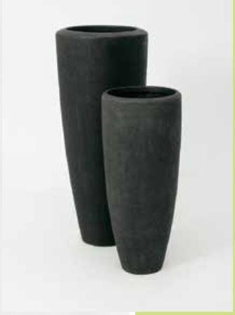 Blumenübertopf Polystone Partner aus gemahlenen Stein und Kunststoff, nur für den Innenbereich geeignet. Farbe Schwarz, Ø 23cm Höhe 50cm