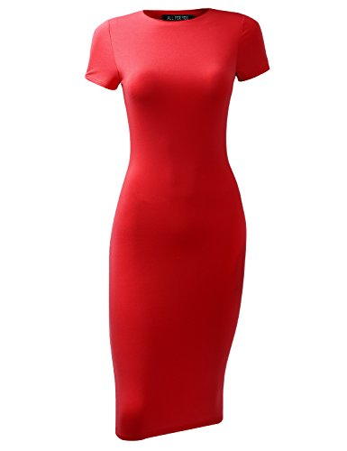A.F.Y All For You Women's Slim Fit Sandwich Dress Red Small