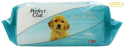Perfect Coat Puppy Bath Wipes 100 Pack - Pack of 6