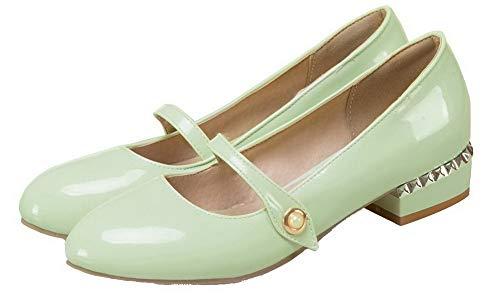 Punta Tacco Maiale GMMDB006817 Tirare Ballet Tonda Menta Basso Verde AgooLar Donna Pelle di Puro Flats xXIIpa