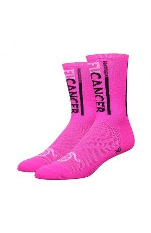DeFeet AirEator 6in FUCancer Hi-Vis Pink Handlebar Mustache Cycling/Running Socks - HBMFUCPB (FUCancer - Hi-Vis Pink - (Defeet Pink Running Socks)