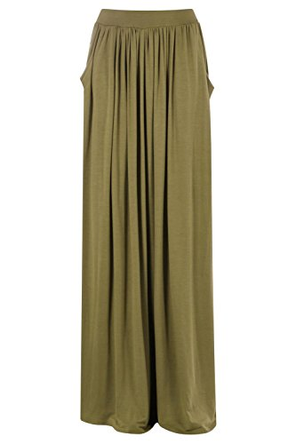Boohoo Womens Ettie Pocket Front Floor Sweeping Jersey Maxi Skirt in Olive size