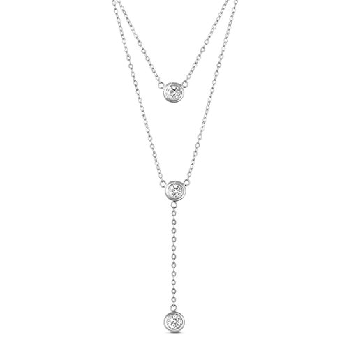 "Sweetiee 925 Sterling Silver Double Layered Necklace, with Three Round AAA Zircon Pendant 16""~17.3"""