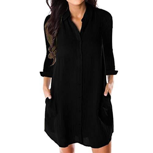 Muranba Clearance Women Long Sleeve Button Casual Shirt Dress