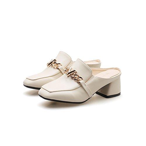 Bloque Mujeres amp;X Rice de White Cuadrada Qin Zapatos Cabeza PxwZwq