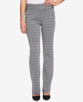 CeCe Women's 12X31 Plaid Extend-Tab Dress Pants Stretch Gray 12