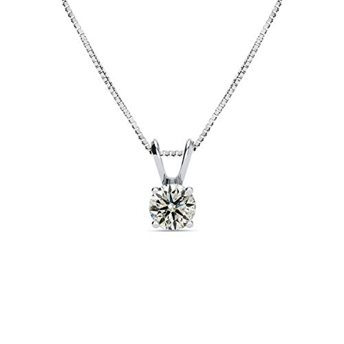 Sparkle Bargains 14K White Gold 1/2 Carat Solitaire Diamond Pendant Necklace (K-L, I2-I3) AGS Certified with Free Chain, 18 Inches