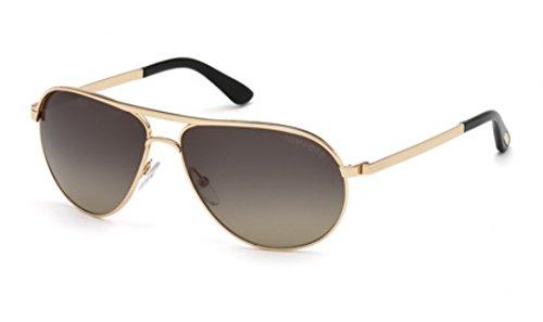 Tom Ford Men FT0144 MARKO Rose Gold/Grey Sunglasses - Gold Tom Rose Ford