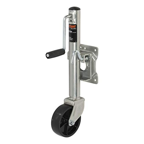 CURT 28100 Boat Trailer Jack with 6-Inch Wheel, Supports 1,000 lbs., 10-Inch Vertical Travel