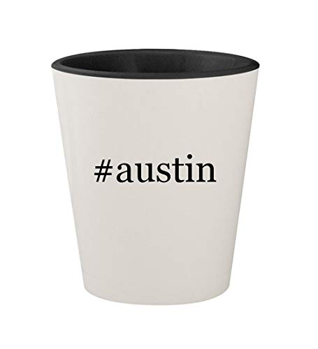 (#austin - Ceramic Hashtag White Outer & Black Inner 1.5oz Shot Glass)