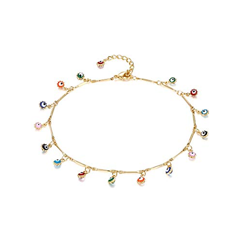 Evil Eye Anklet,14K Gold Plated Evil Eye Ankle Bracelet,Multi-Color Dangle Evil Eye Anklets for - Dangle Anklet