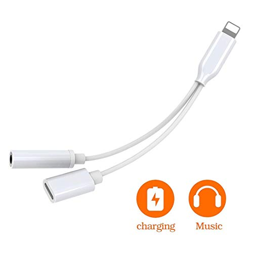 Headphones Jack Adapter for iPhone 7 Headphone, Charging Cable Aux Audio Accessories Earphone 3.5mm Dongle Audio & Charge Connector Cable for iPhone 8