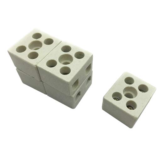 5 PCS Wire Connector 2 Position Dual Row Ceramic Terminal Block, 15A