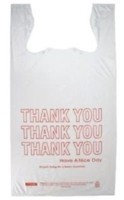 Large 1/6 Bbl T-Shirt Thank-You Grocery Bags 11.5'' x 6.5'' x 21'' (Pack of 1000)