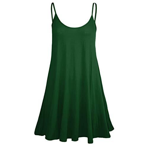 (Lovor Spaghetti Strap Women's Solid Sleeveless Adjustable Strappy Camisol Summer Beach Swing Pleated A-Line Dress Mini Dress (Dark Green,L))