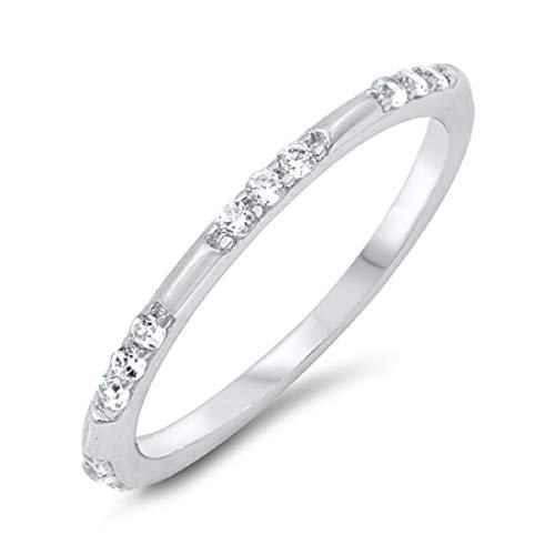 Blue Apple Co. 2mm Eternity Style Band Ring Round Cubic Zirconia 925 Sterling Silver Size-6