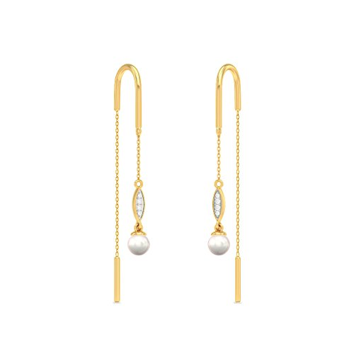 14 K Or jaune 0.05 CT TW White-diamond (IJ | SI) et blanc perle Pendants d'oreilles