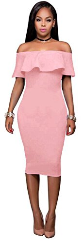 Pink Sexy Dress (Women Sexy Off The Shoulder Ruffle Slim Fit Bodycon Cocktail Party Midi Dress Pink XL)